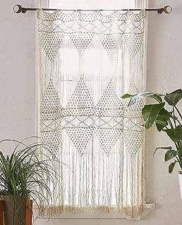 Cortina macramé de flores para colgar en la pared, tejida a mano, diseño de macramé, para boda, cocina, 127 x 183 cm