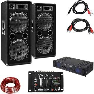 Skytec SPL700EQ Equipo de PA con Amplificador • 2 x 350 Watt • Conectores: Entrada Jack 3,5 mm, 2 Salidas estéreo y 3 entradas estéreo • Lote de Dos Altavoces de 3 vías con Mesa de Mezclas • Negro