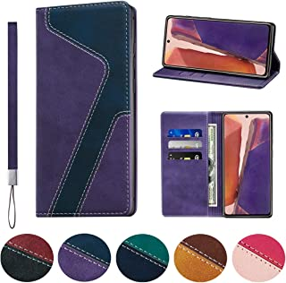 Huping Samsung Note 20 Ultra Case, Leather Color Contrast Style Wallet Case with Card Holder Shockproof Flip Stand Cover F...