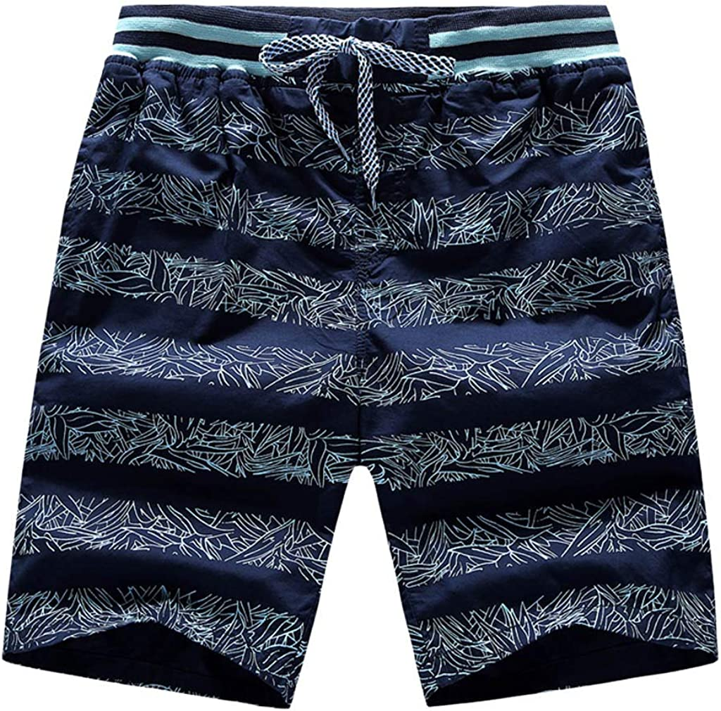 UOFOCO Men Spring Summer Printed Quick Dry Beach Shorts Surfing Running Drawstring Short Pants