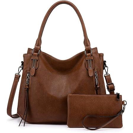 Realer Damen Handtaschen Groß Shopper Lederhandtasche Schultertasche Umhängetasche Geldbörse Hobo Damen Taschen 2pcs Braun