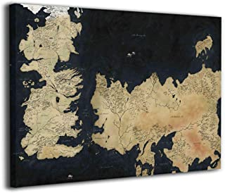 Hd8yehao Map of Westeros Canvas Wall Art Prints Picture Modern Paintings Home Decoration Giclee Artwork Wood Frame Gallery Stretched