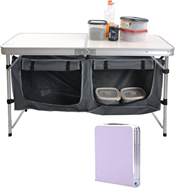 LUCKYERMORE Outdoor Folding Camp Table Suitcase Lightweight Height Adjustable Portable Foldable Picnic Table
