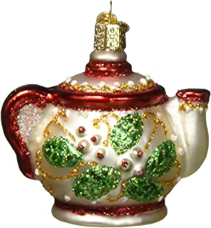 Old World Christmas Ornaments: Coffee and Tea Gifts Glass Blown Ornaments for Christmas Tree, Holly Teapot