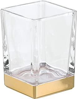 iDesign InterDesign Tumbler Cup for Bathroom Vanity Countertops – Clear/Soft Brass Casilla, Gold