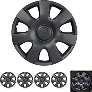 """Wheel Guards – (4 Pack) Hubcaps for Car Accessories Wheel Covers Snap Clip-On Auto Tire Rim Replacement for 15 inch Wheels 15"""" Hub Caps (Classic Matte Black)"""