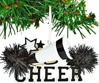Personalized Cheer Christmas Tree Ornament 2019 - Black Cheerleader Megaphone Star with Real Pompom Competition Girl Team Dancer High School Loud Proud Year - Free Customization