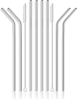 """Set of 8 Extra Long 10.5"""" Inches Stainless Steel Drinking Metal Straws with 2 Cleaning Brushes - Compatible with 30 32 and 40 oz Tumbler Rambler Cup Bottle and Coffee Mug"""