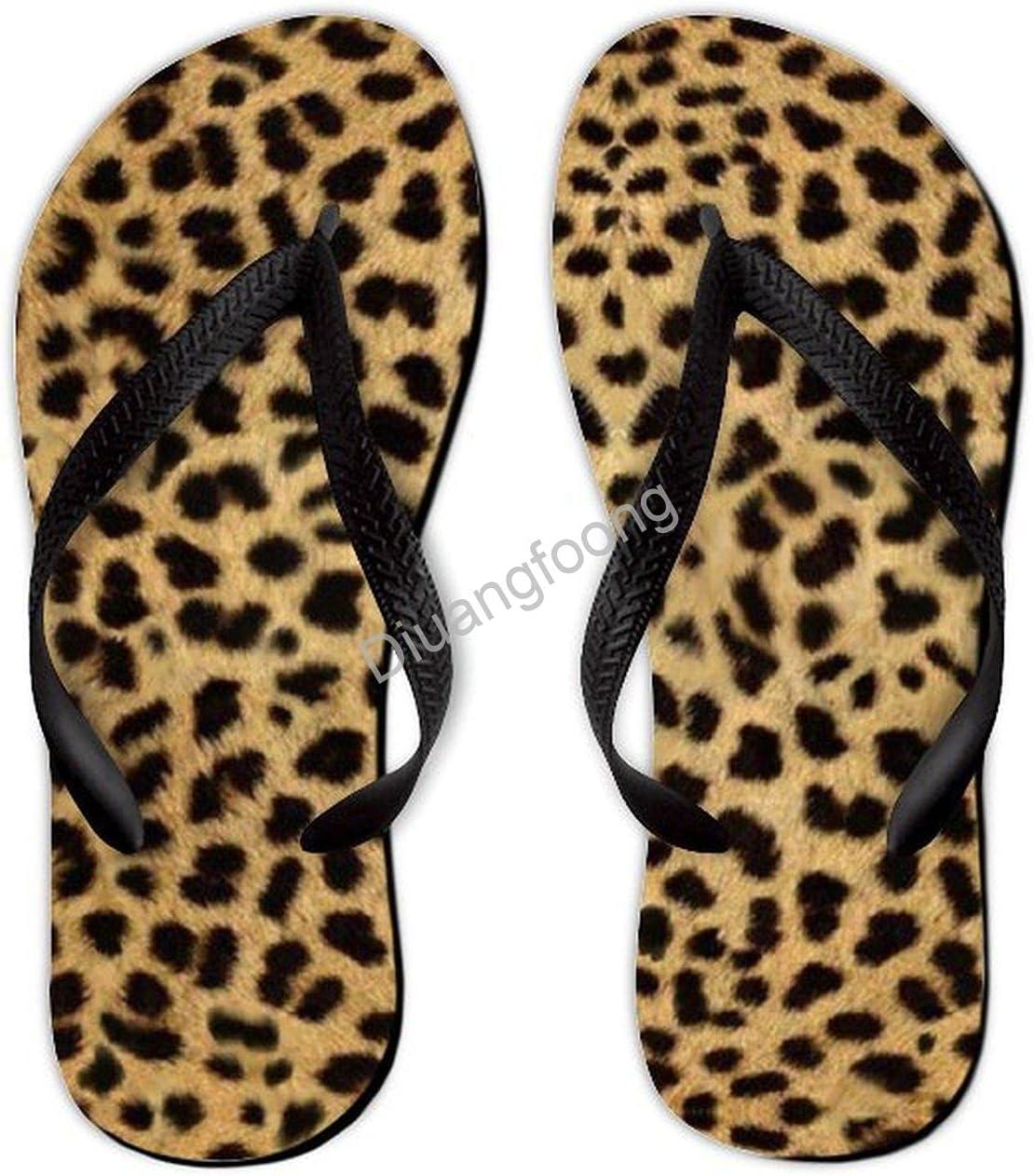 Leopard Flip Flops Comfort Unique Thong Sandal Fun Sandal For Home Bathroom Party Black Style9