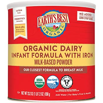 Earth's Best Organic Dairy Infant Powder Formula with Iron, Omega-3 DHA and Omega-6 ARA, 23.2 oz