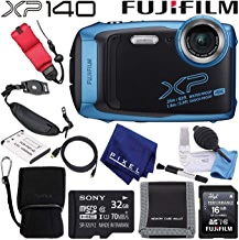 $233 Get Fujifilm FinePix XP140 Waterproof Digital Camera (Sky Blue) 600020656 Value Accessory Bundle Includes 32GB Memory Card, Floating Wrist Strap, Professional Cleaning Kit, and Much More