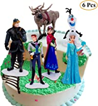 6PCS Frozen Collectible Model Elsa Snow Cake Topper, Children Mini Toys Cupcake Toppers for Birthday Party Supplies