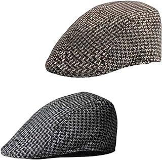 freneci 2 X Boys Flat Cap Tweed Check Herringbone Newsboy Peaky Hat Brown & Black