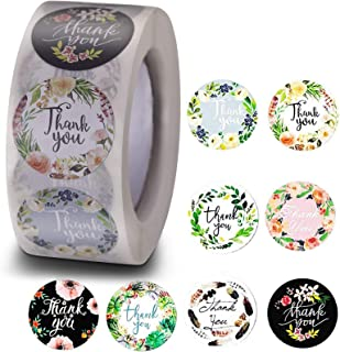 MRIMAYA Thank You Stickers Roll of 8 Floral Designs 500 pcs, 2.5 cm Round Self-Adhesive Stickers Lables for Thank You Card...