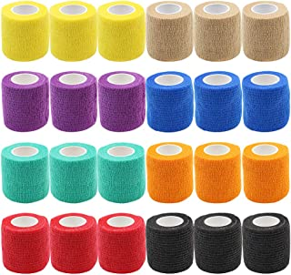 "Self Adhesive Tape - Yuelong 24Pack 2"" x 5 Yards Self-Adherent Cohesive Tape Tattoo Grip Wrap Cover Strong Sports Tape, Mix Color Self-Adhesive Bandage Rolls Athletic Tape"