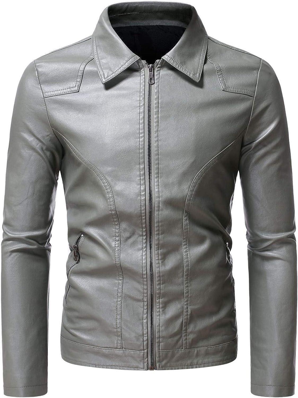 Men Leather Jackets,Vintage Classic Leather Zip Up Biker Bomber Jacket V1600