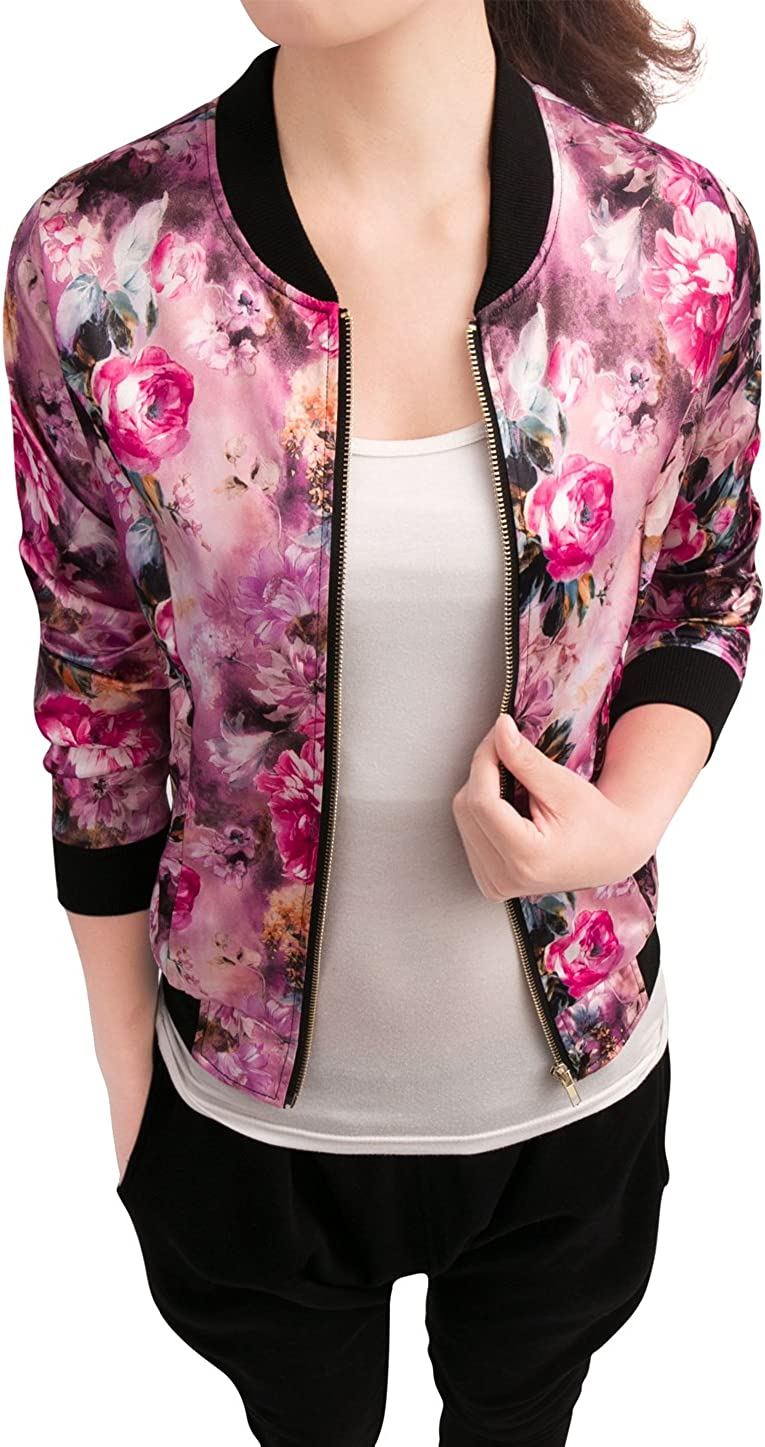 Allegra K Women's Stand Collar Zip Up Floral Prints Bomber Jacket : Clothing, Shoes & Jewelry