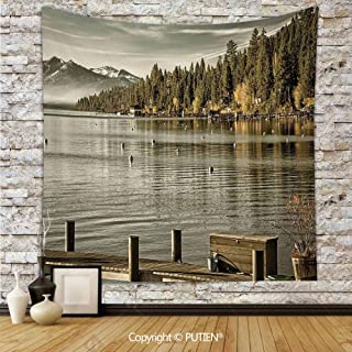 Funky Tapestry Wall Hanging [ Forest,Trees at Lakeside Carnelian Bay Tahoe California USA Boardwalk Tranquil Scene,Green Sage Green ] Fabric Wall Hanging Decor for Bedroom Living Room Dorm, 68