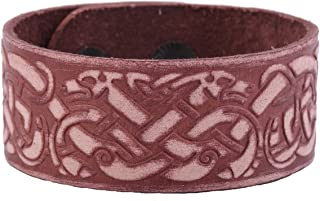 Dawapara Vintage Punk Celtic Knotwork Dragon Cuff Wristband Leather Bracelet for Women Men Jewelry Gift