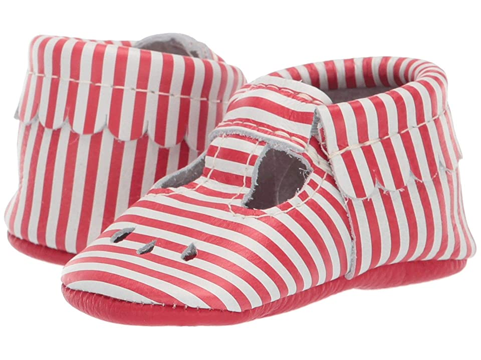 Freshly Picked Soft Sole Mary Jane USA (Infant/Toddler) (Red Candy Stripe) Girl