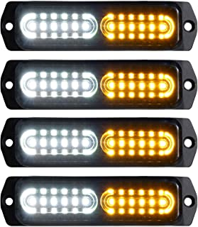 ASPL 4pcs Sync Feature 12-LED Surface Mount Flashing Strobe Lights for Truck Car Vehicle LED Mini Grille Light Head Emergency Beacon Hazard Warning lights (Amber/White)