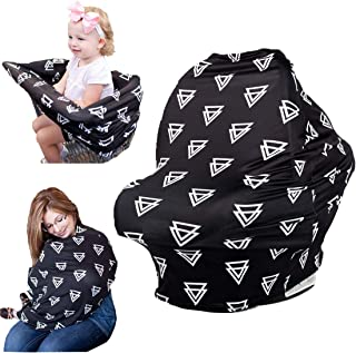 Baby car seat Covers, Nursing Cover for Protecting Boys Girls Privacy Breastfeeding, Multi Use Canopy for Stroller Shopping Cart, Light Blanket Best Baby Shower Gift, Super Soft (Black Triangle)