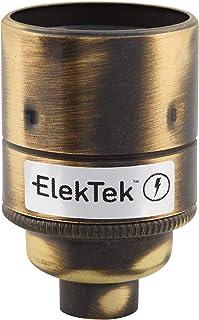 Casquillo ES E27 ElekTek de rosca Edison con faldón plano y entrada de 10 mm, ideal para bombillas vintage de filamento