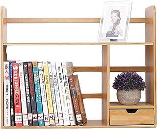 Estanterías para CD DVD Organizador de estantería de escritorio con cajón, estante de almacenamiento de madera maciza, est...