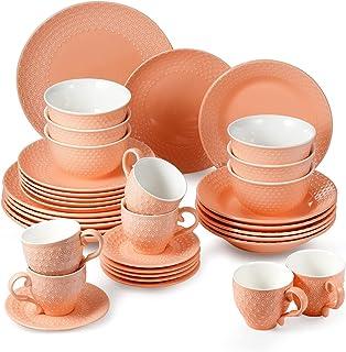 suntun Service de Table Complets 6 Personnes, 36 pièces Vintage Orange Vaisselle en Céramique, Porcelaine Assiettes Creuse...