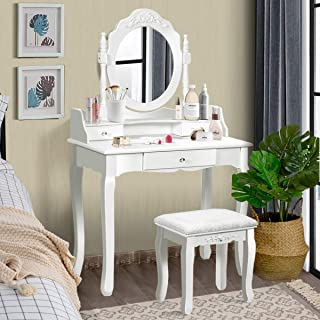Giantex Vanity Table Set with Mirror and Stool for Bedroom Modern Wood Style Cushioned Bench Oval Mirrored Multifunctional Top Removable Writing Desk Dressing Tables for Girls, 3 Drawers (White)