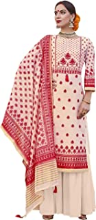 Cream & Red Palazzo Style Suit