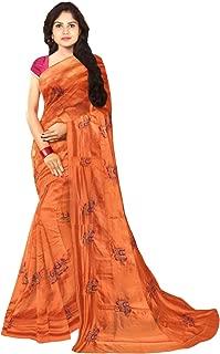KLM Fashion Mall Women's Fancy Cotton Silk Saree (Orange)