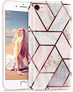 iPhone 8 Case Marble,Imikoko iPhone 7 Case Slim Glossy Shiny Pink Bling Glitter Sparkle Shockproof Protective Flexible TPU Bumper Case Cover for Apple iPhone 7/8.
