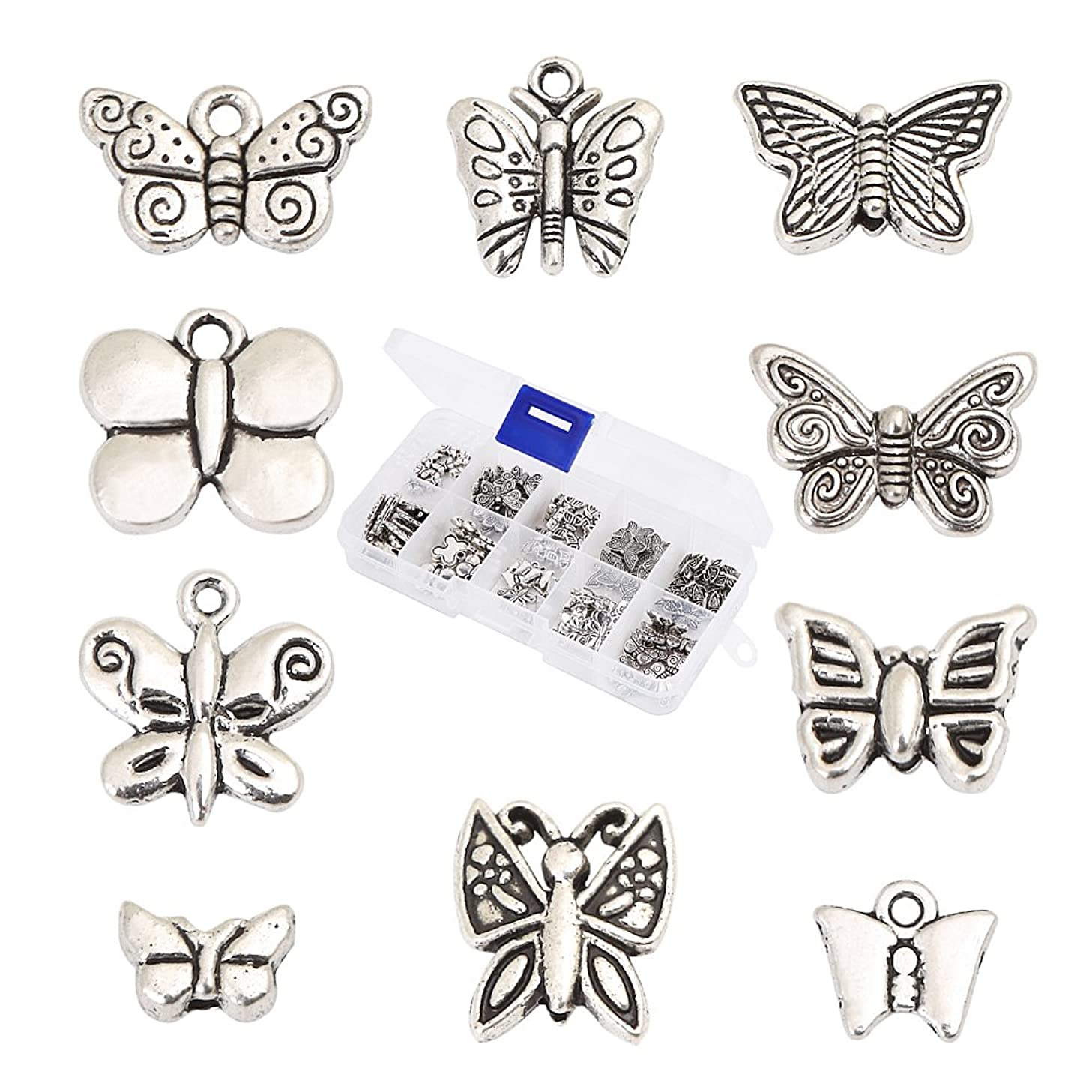 HYBEADS 100Pcs Assorted 10 Styles Tibetan Silver Butterfly Spacer Charm Beads for Jewelry Making Findings Value Pack Mix Lot with Container