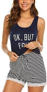 Ekouaer Womens Pajama Set Sleeveless Sleepwear Lace Hem Tank and Shorts Pjs Set S-XXL