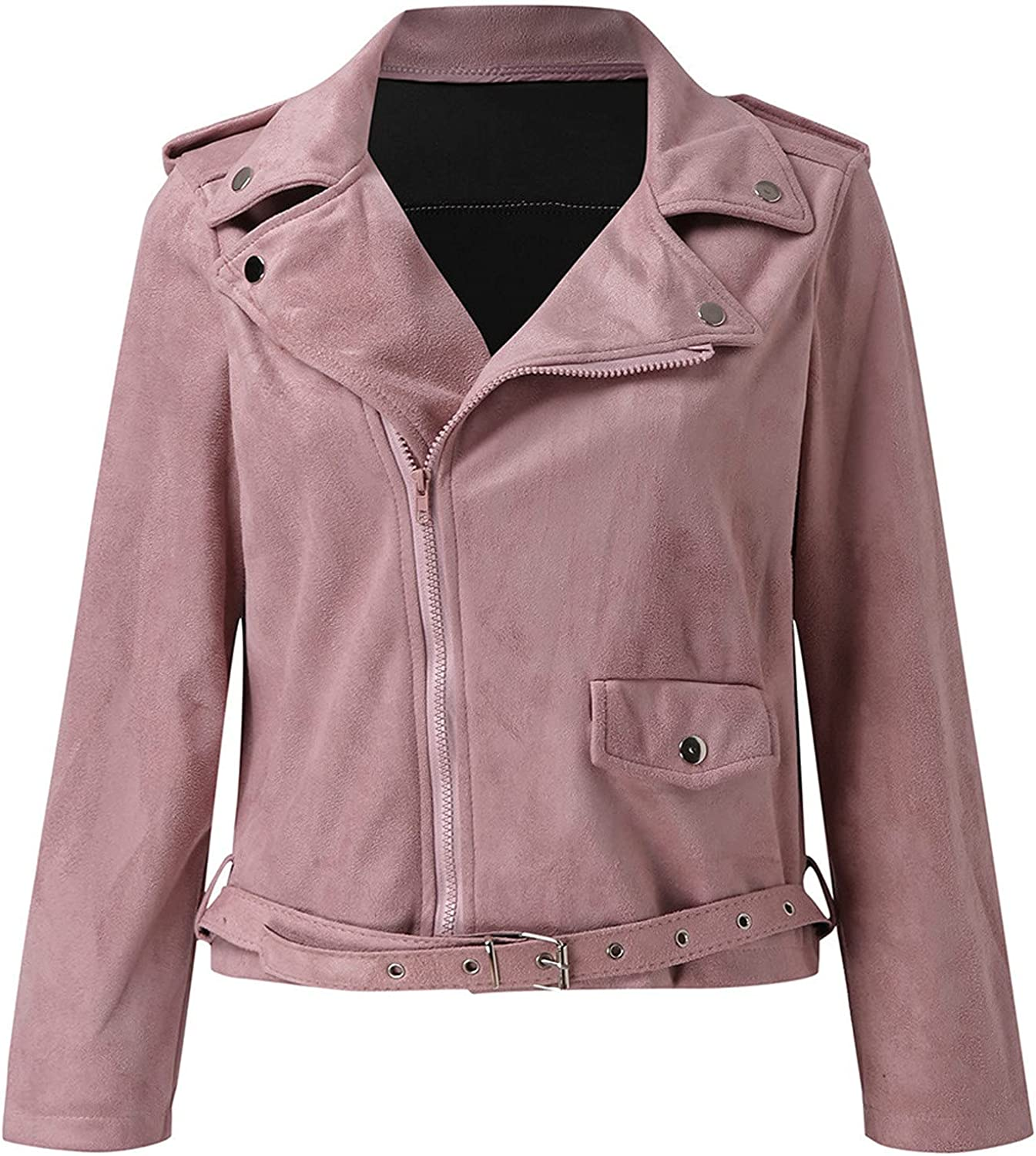 Women's Casual Jackets Retro Faux Suede Slim Zippers Coat Lightweight Utility Turn-down Collar Short Anorak with Sashes