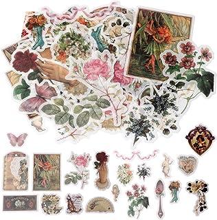 nuoshen 60 Pack d'Autocollants, Stickers Motifs Conte de Fées Plantes Fleurs Animaux Sauvages Papillons pour Scrapbooking,...