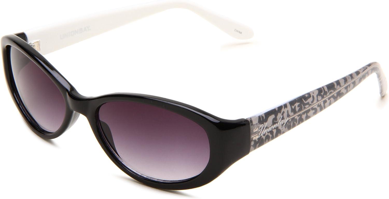 Union Bay Women's U190 Oval Sunglasses,Black Animal Frame,Smoke Gradient Lens,One Size