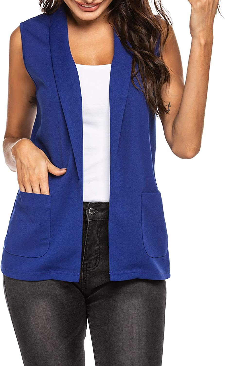 HOTLOOX Womens Sleeveless Blazer Open Front Office Casual Vest Lapel Collar Cardigan with Pockets S-XXL