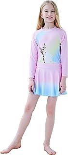 Girls Rash Guard Swimsuit Set UPF 50+ UV Three Piece Long Sleeve Swimwear for 4-14 Years