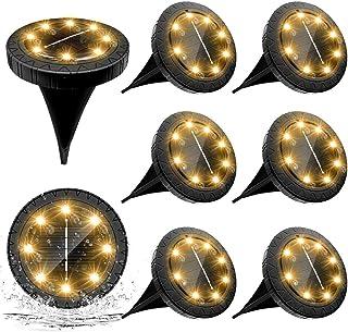 Lampe Solaire Exterieure 8pack 8LED Luminaire Solaire Extérieur Jardin Eclairage Blanc Chaud Spot LED Extérieur étanches L...