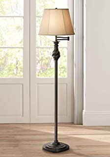Traditional Swing Arm Floor Lamp Painted Black Bronze Swirl Font Faux Silk Beige Shade for Living Room Reading Office - Regency Hill