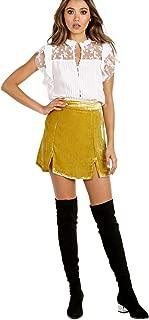 Beatrix Velvet Skirt Chartreuse