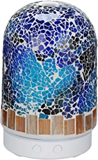 AA Crackle Mosaic Glass Abstract Art Aroma Essential Oil Diffuser Aromatherapy Humidifier 120ml Housing wirth14-Color LED Light