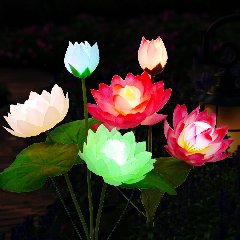 Solar Flower Lights Ultra-Cheap Deals Outdoor Garden 2 Pack 7 famous Lotus