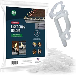 SEWANTA All-Purpose Light Clips Holder - Set of 600 Christmas light hooks - Mount holiday lights to shingles and gutters - works with Rope, Mini, c-7-6-9, icicle lights - USA made - No tools required