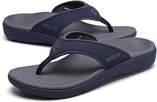 BERLATIM Mens Orthotic Plantar Fasciitis Sport Flip Flops Comfort Casual Thong Sandals Outdoor Indoor