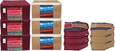 Kuber Industries Non Woven 6 Pieces Saree Cover/Cloth Wardrobe Organizer and 6 Pieces Blouse Cover Combo Set (Maroon & Brown)