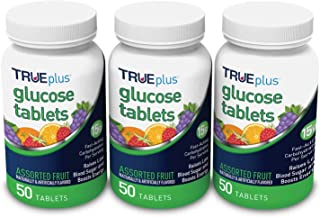 TRUEplus® Glucose Tablets, Assorted Flavor (Grape, Raspberry, Orange) - 50ct Bottle – 3 Pack