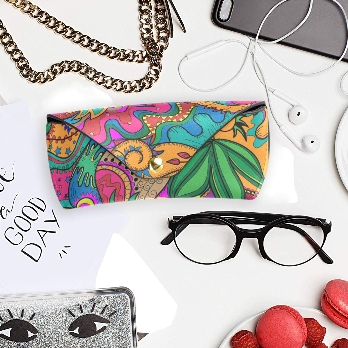 Sunglasses Case Eyeglasses Pouch Storage Goggles Bag PU Leather Colorful Flower Leaf Portable Multiuse